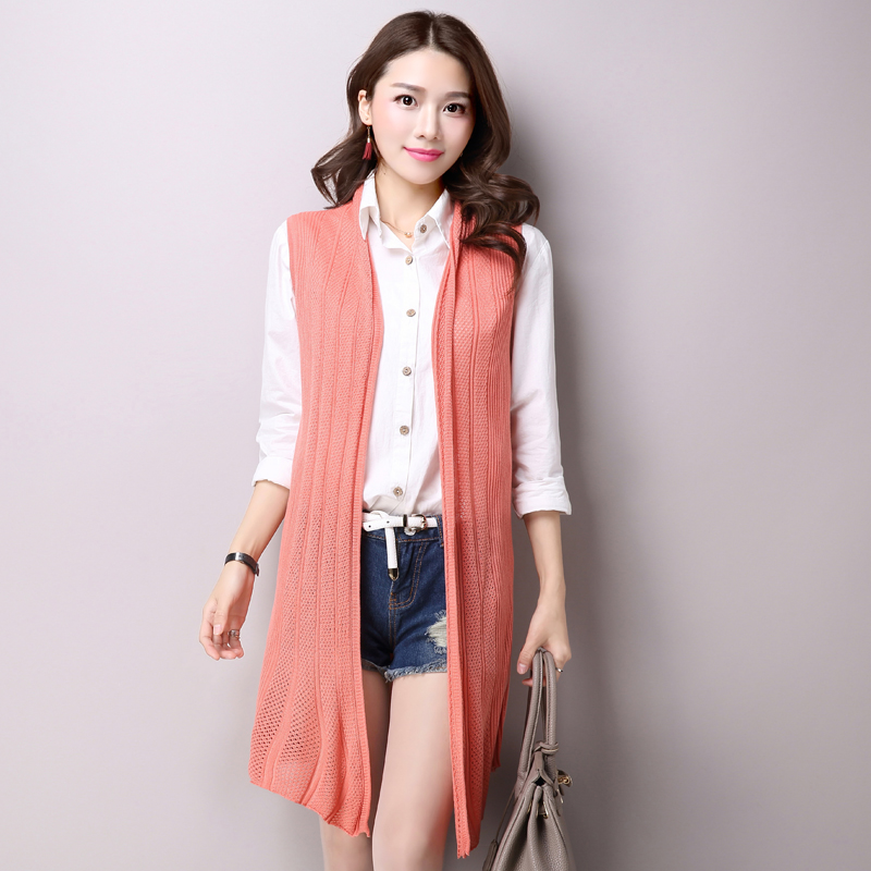 ec8178da8f95f Get Quotations · 2016 summer new fashion sleeveless knit cardigan vest and  long sections slim solid color cardigan sweater