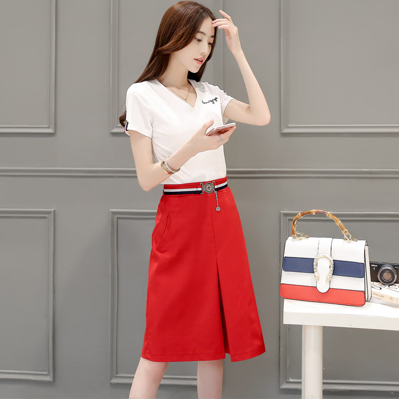 2016 summer new fashion solid color t-shirt slim was thin thin piece korean version of the paragraph piece skirt suit