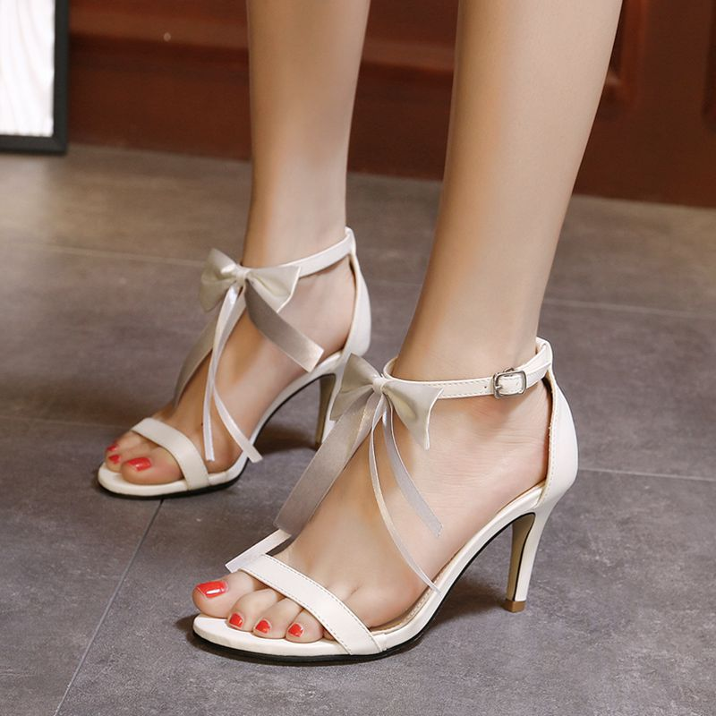 59cf74077d1 Get Quotations · 2016 summer new japanese sweet ribbon bow word strap high  heels sandals women sandals fine with