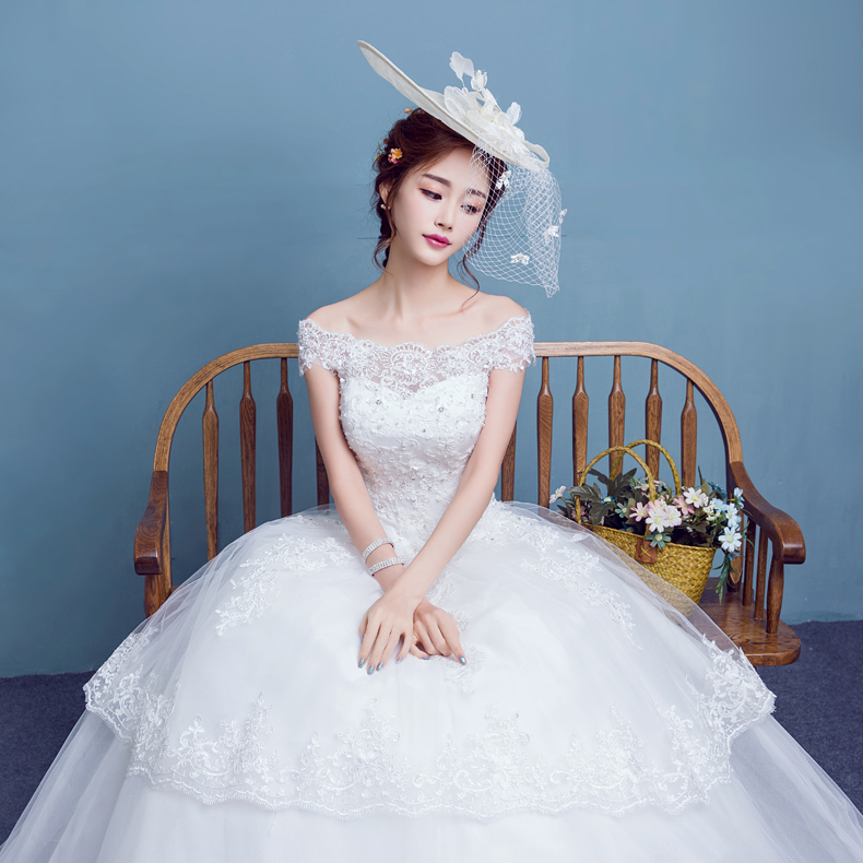 2016 summer new korean bride wedding dress qi word shoulder bride wedding large size wedding dress for pregnant women