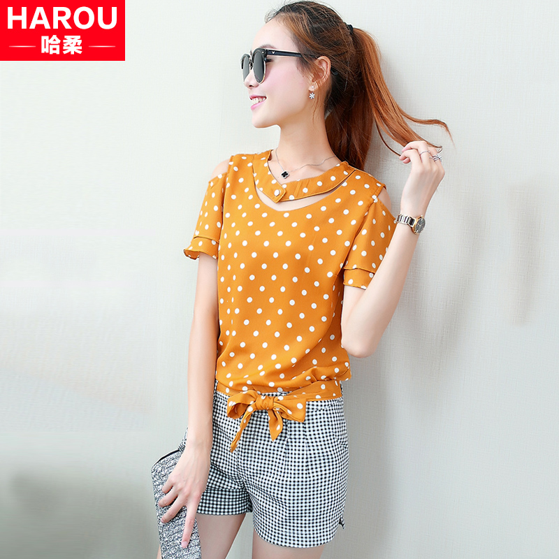 2016 summer new korean girls short sleeve strapless chiffon shirt shorts piece at the beginning of high school students fashion suit