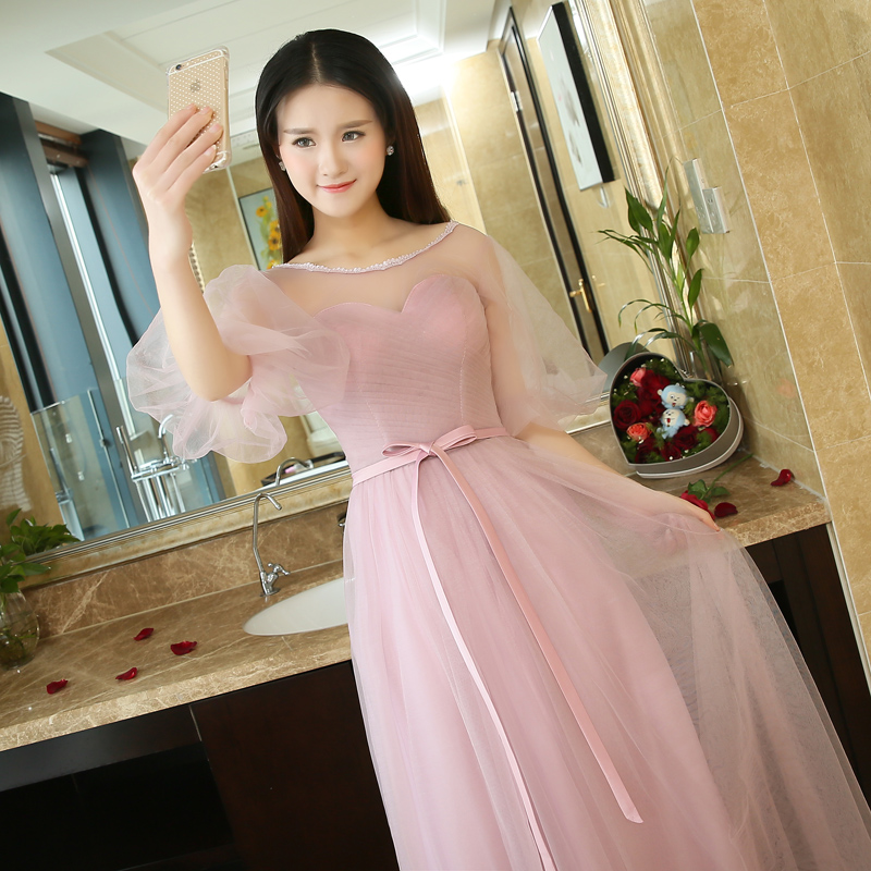 2016 summer new korean sisters dress bridesmaid dress short paragraph toast clothing word shoulder graduation banquet evening dress long section