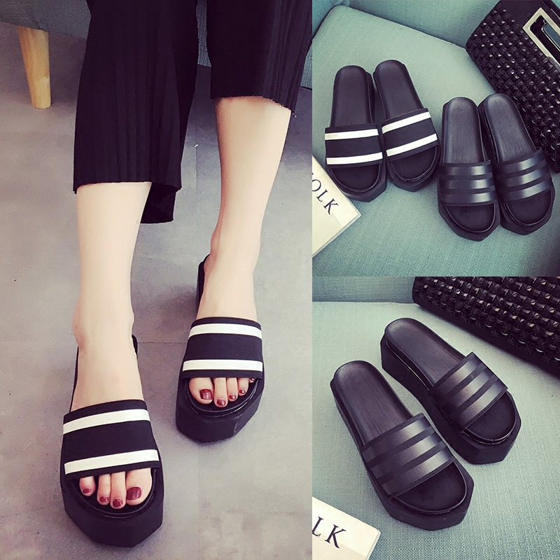 2016 summer new korean version of high heels open toe sandals and slippers female summer fashion muffin thick bottom end of the word drag female Shoes