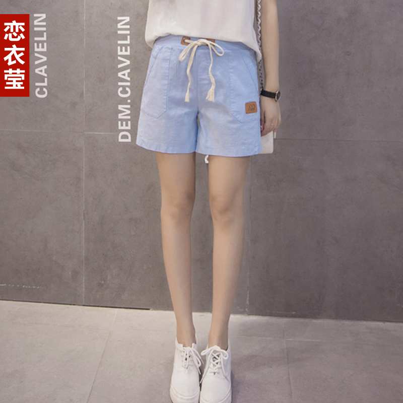 2016 summer new korean version of large size women fashion was thin waist casual shorts loose tight waist cotton short pants
