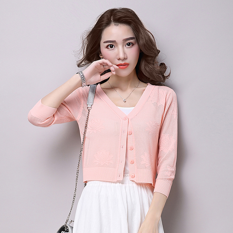 2016 summer new korean version of slim short paragraph solid color hollow sleeve knit cardigan sweater air conditioning shirt female thin section