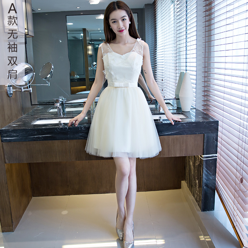 2016 summer new korean version of slim was thin bridesmaid dress short paragraph bra bridesmaid dress mini dress short paragraph sister sister