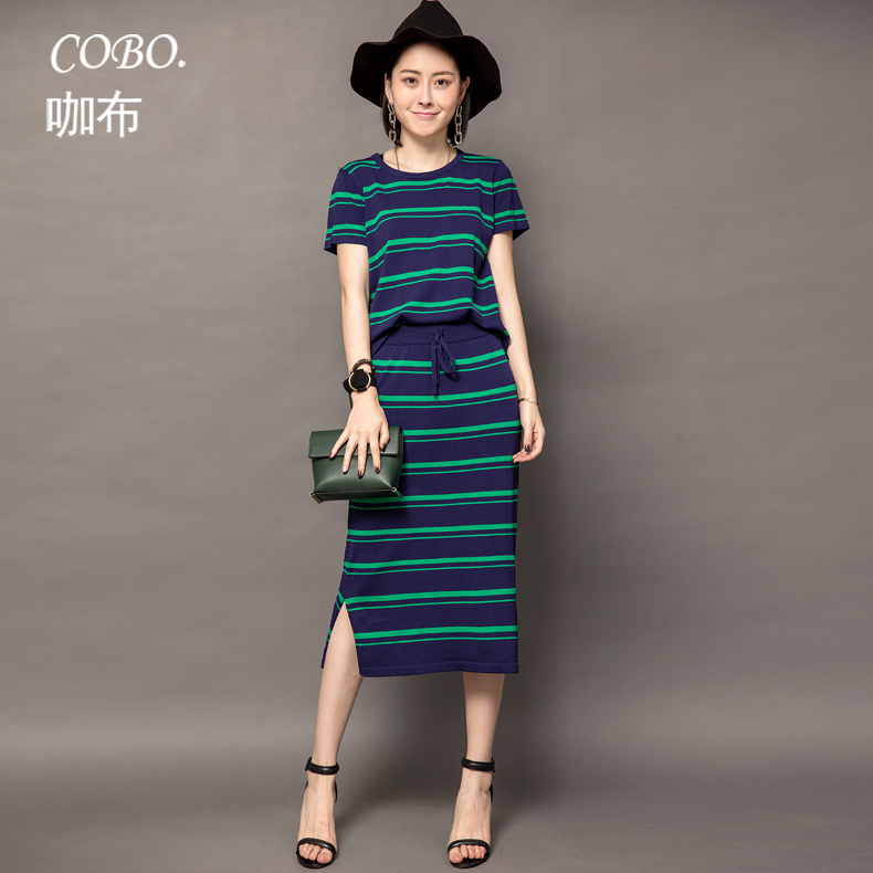 2016 summer new korean version of the influx of european and american temperament piece fresh striped summer ice silk knit dress suit