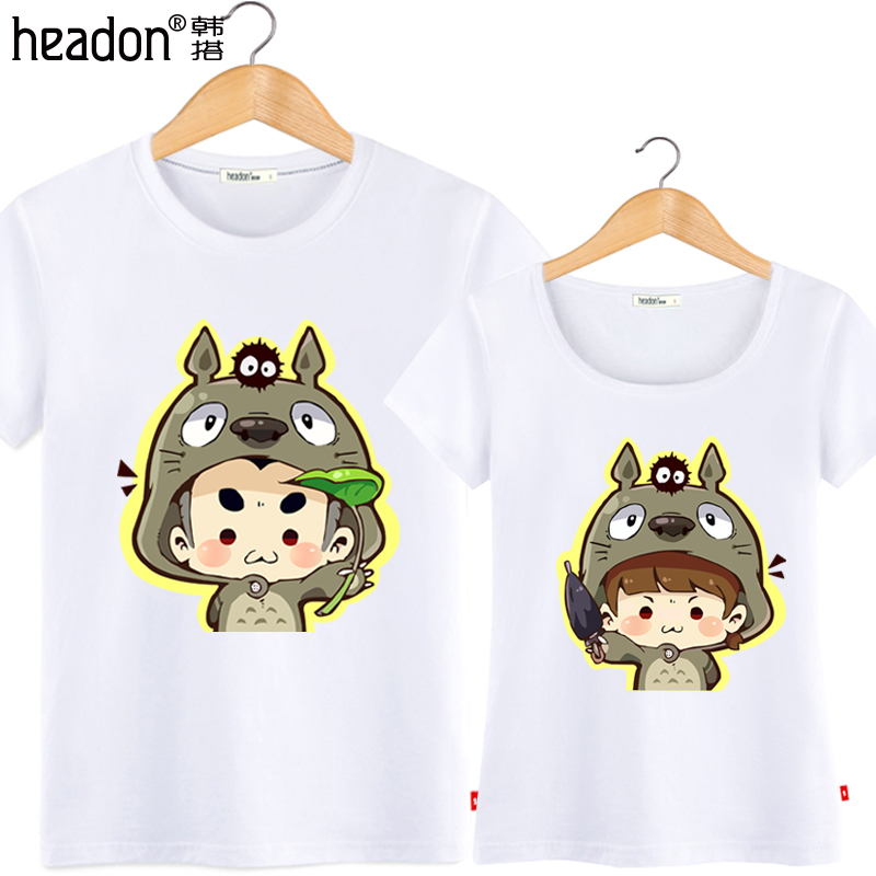 2016 summer new korean version of the q version of south korea take totoro lovers cute cartoon female cotton round neck short sleeve t-shirt men