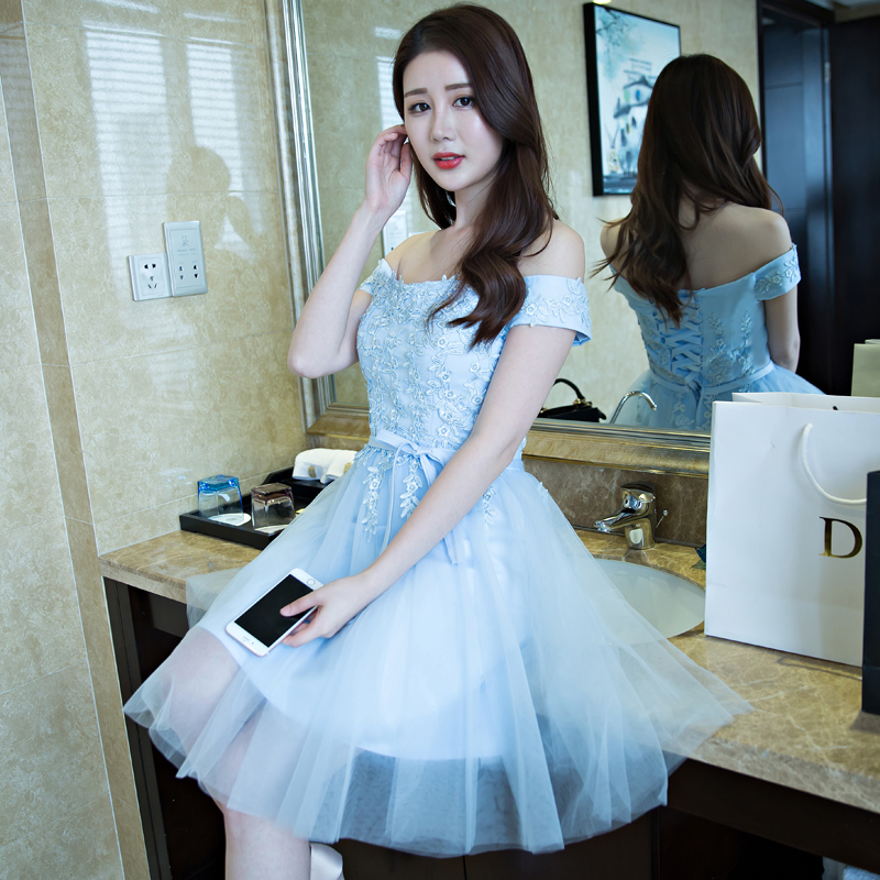 2016 summer new korean version of the word shoulder bridesmaid dress bridesmaid dress sister skirt banquet hosted evening dress short paragraph with mother group