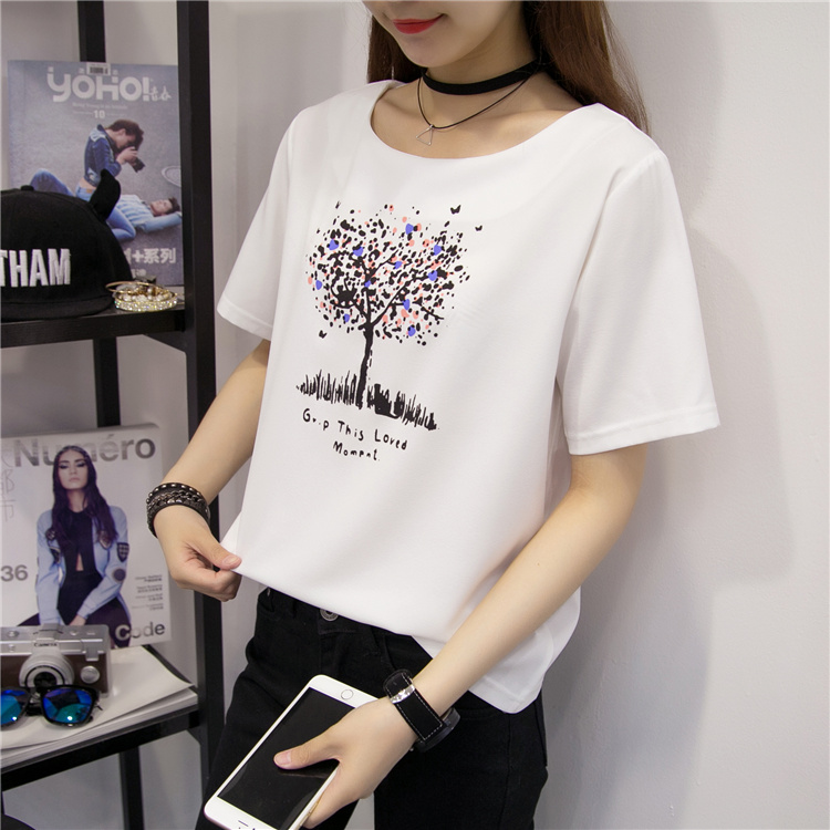 2016 summer new korean women printed round neck short sleeve students loose white chiffon shirt sleeve shirt tide