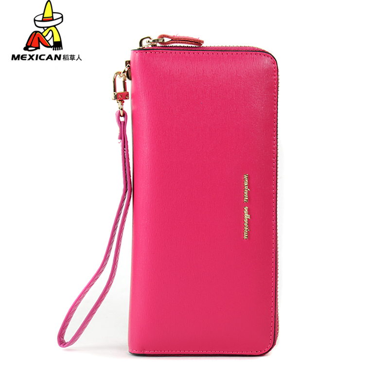 2016 summer new ladies handbags korean version of the scarecrow long section of zipper wallet leather wallet tide leather wallet bills folder