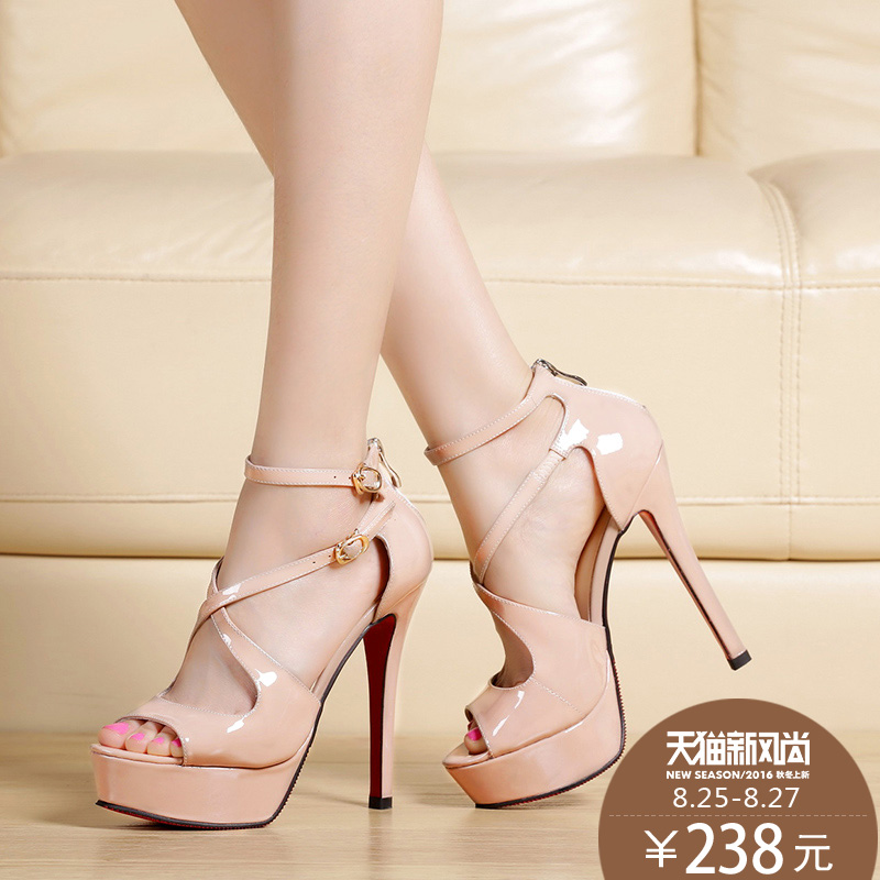 3720e6199d392 Get Quotations · 2016 summer new leather high with sexy cross strap sandals  fish head nude color heels wedding