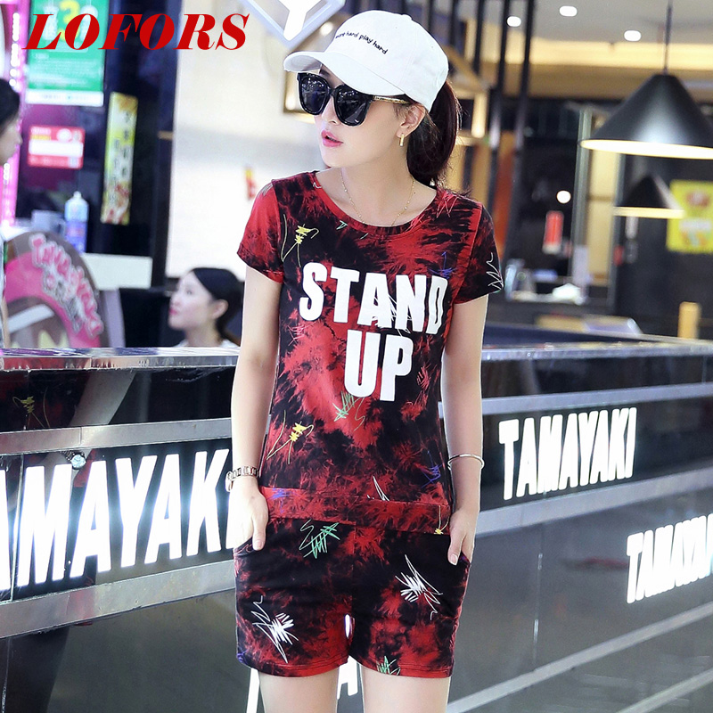 2016 summer new leisure sports suit female runners piece student short pants fashion sportswear tide