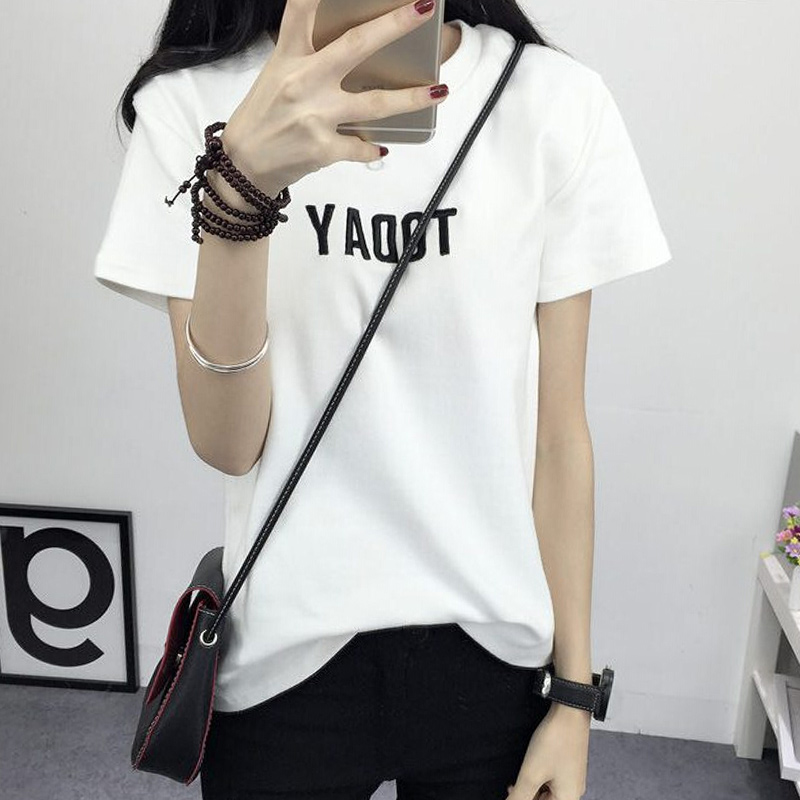 2016 summer new loose letters round neck short sleeve t-shirt female high school students wild half sleeve shirt in half bottoming shirt female tide