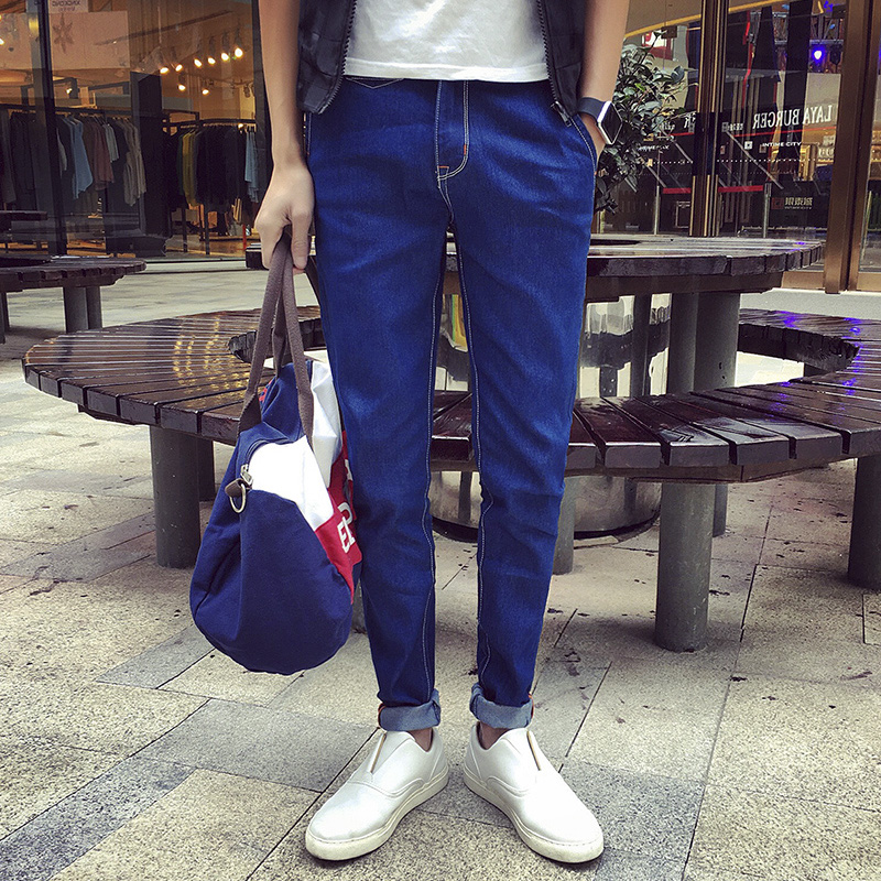2016 summer new men's jeans korean version of slim models young students korean version of trousers pants tide bottoms