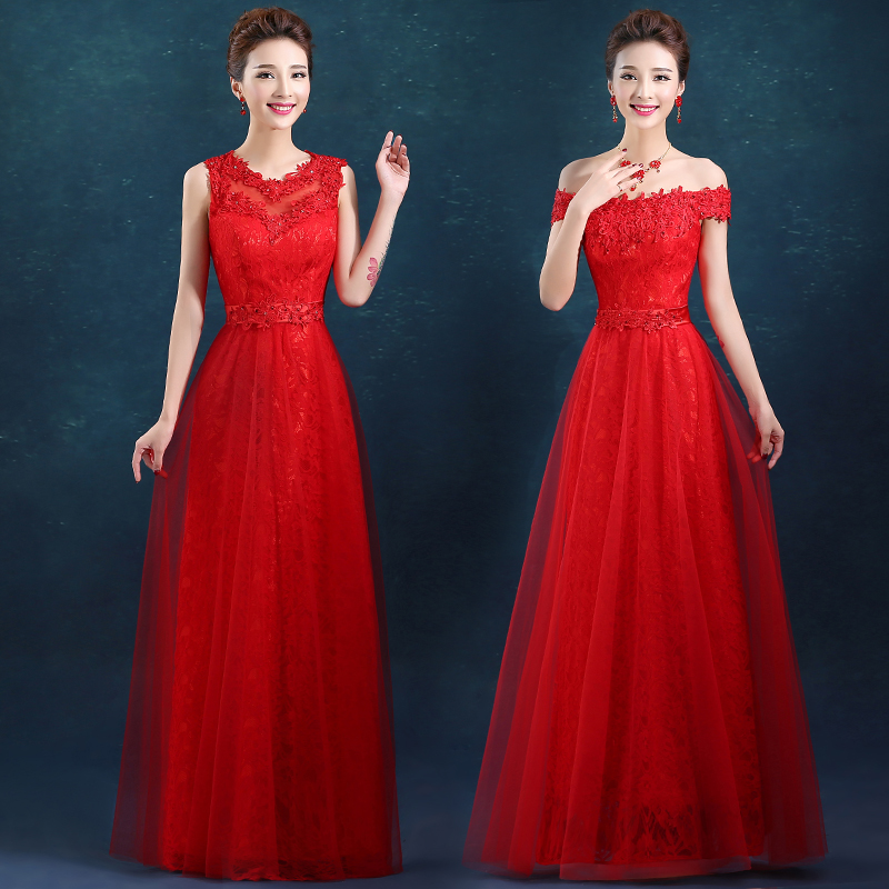 2016 summer new red toast the bride dress short paragraph the word shoulder wedding dress annual meeting banquet evening dress long section