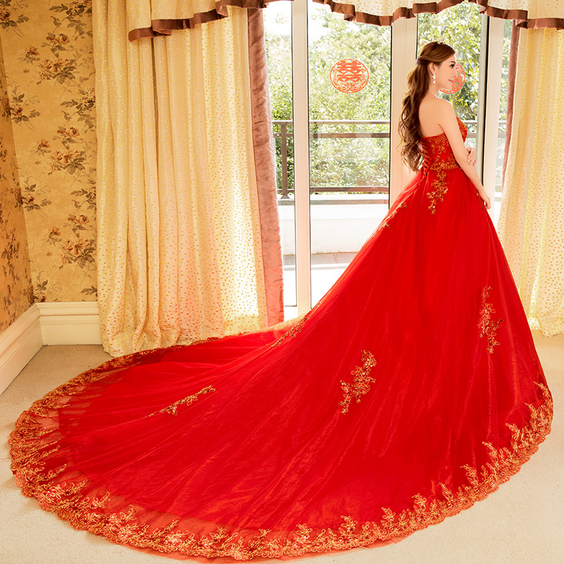2016 summer new red wedding dress big yards slim was thin lace bra long tail bride wedding dress women