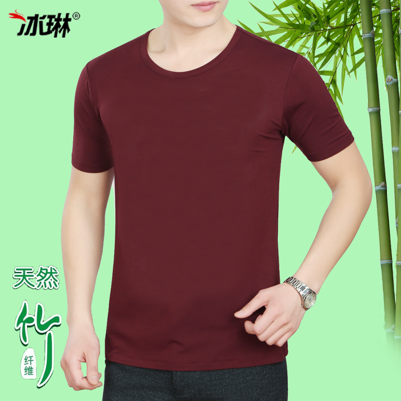 2016 summer new round neck short sleeve t-shirt male korean slim sleeve t-shirt bamboo fiber big yards dad installed in years