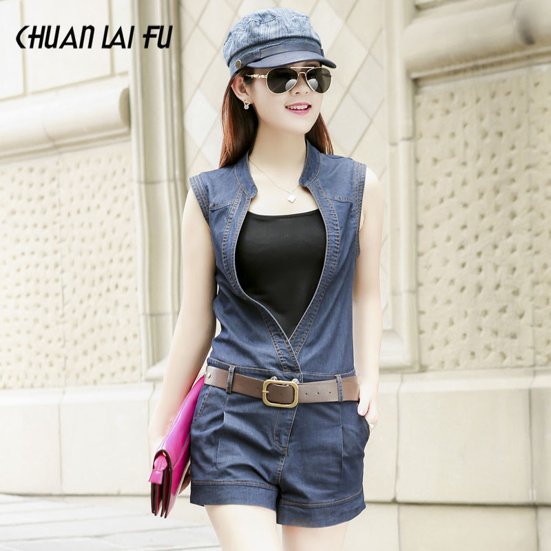 6db10e9642a Get Quotations · 2016 summer new sleeveless denim piece pants shorts korean  version of casual v-neck was