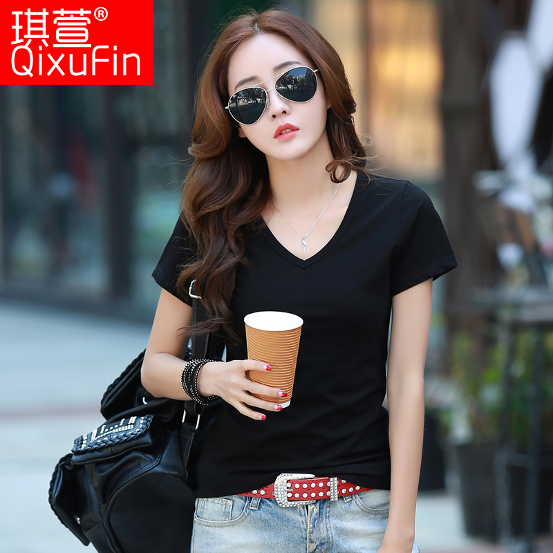 2016 summer new solid color short sleeve t-shirt female slim was thin sleeve v-neck t-shirt female hundred take big yards bottoming shirt