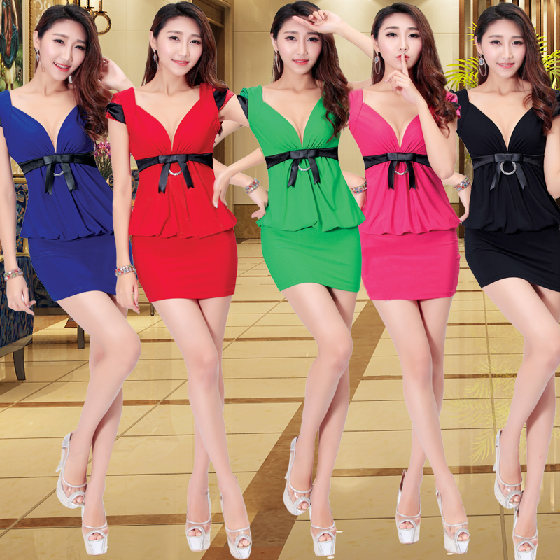 2016 summer nightclub sexy halter belly cover package hip dress slim influx of new deep v-neck ladies skirt