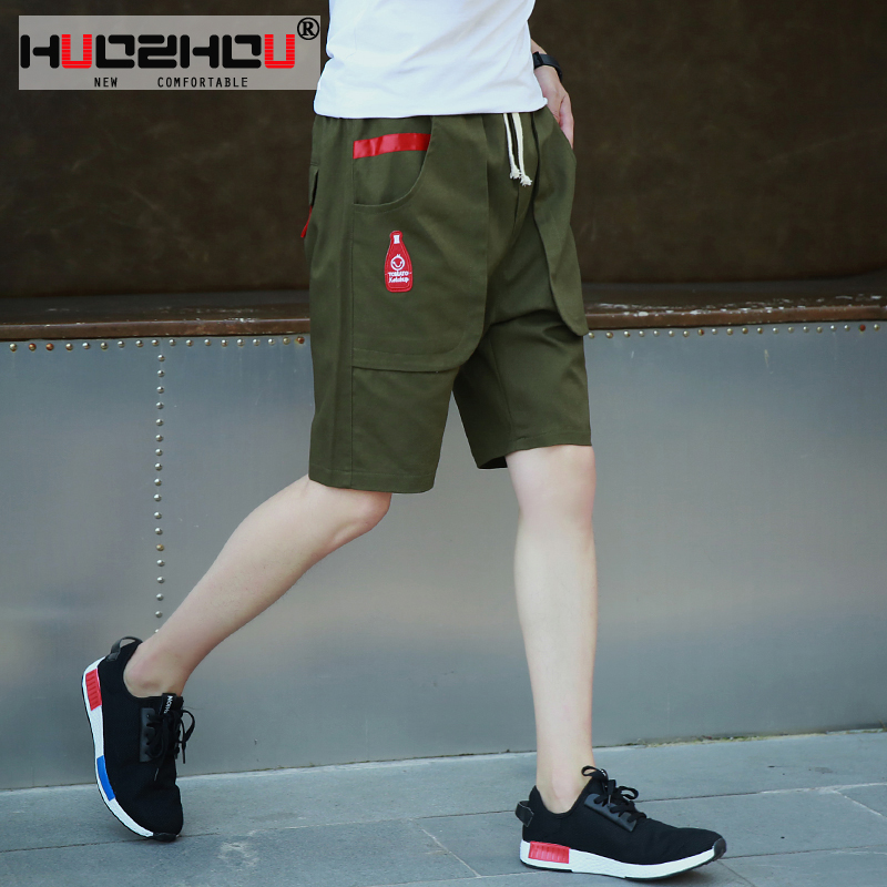 2016 summer shorts men's casual pants loose straight dark green camouflage pants overalls fifth pants shorts pocket more
