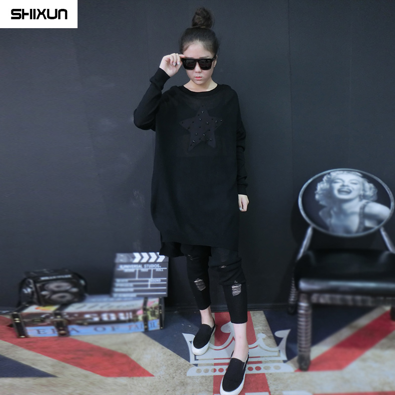 2016 summer wild new korean version of casual women loose in the long section hedging thin sweater fashion printing
