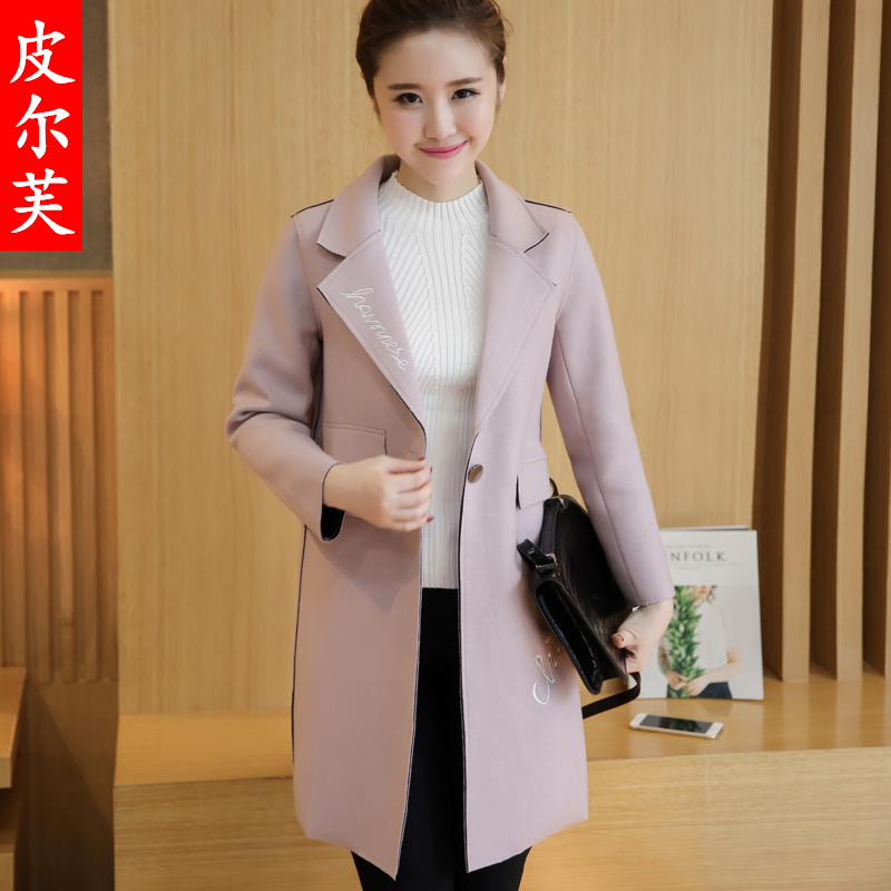 2016 winter new korean women woolen coat and long sections temperament loose woolen coat woolen coat winter coat tide