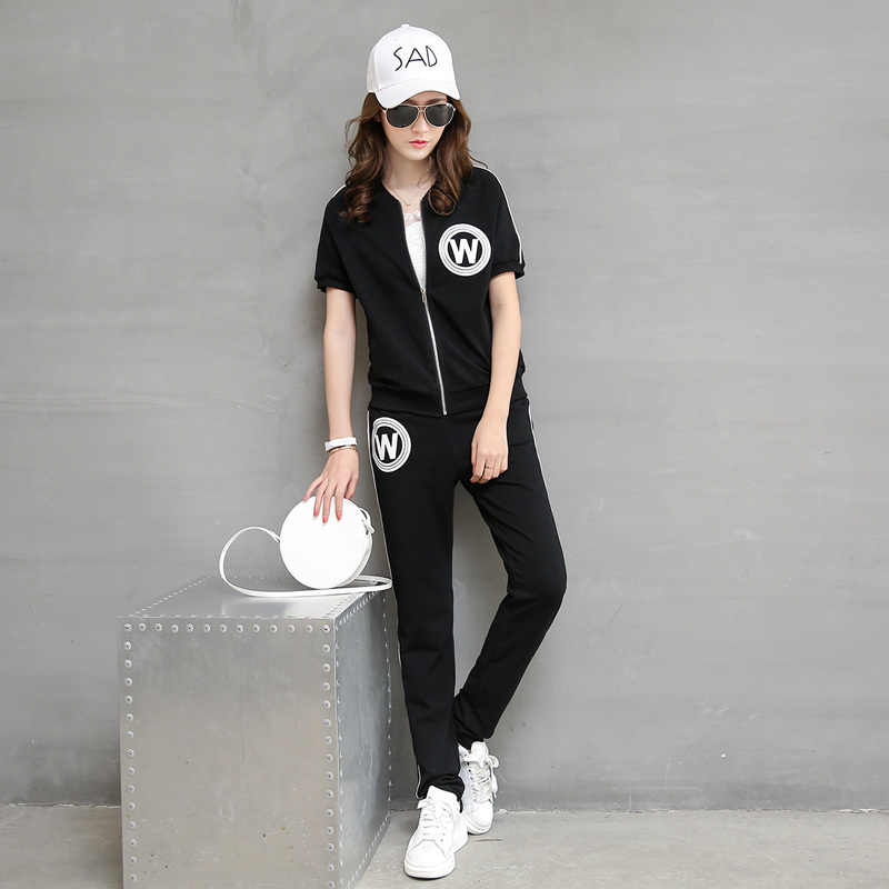 2016 women korean version of casual sports suit sports suit casual sportswear piece new summer pants