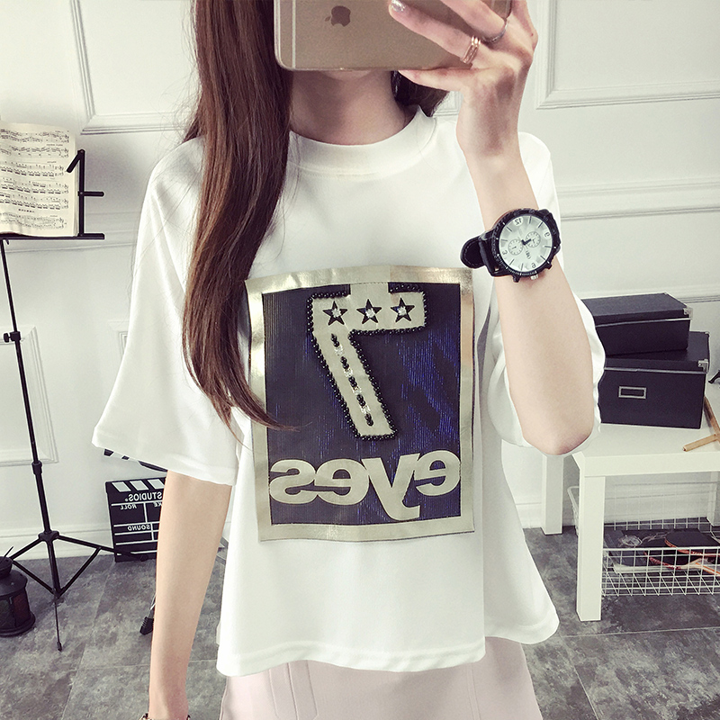 2016 women's spring new korean version of the influx of summer compassionate student short sleeve t-shirt tops spring and summer clothes korean fan