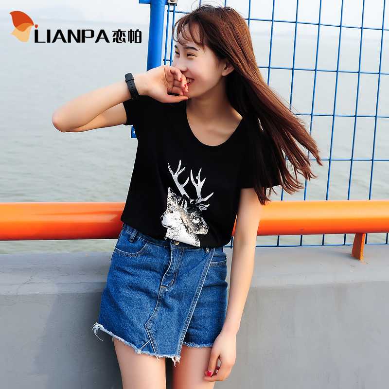 2016 women's summer new korean ladies blouse summer short sleeve small fresh round neck t-shirt