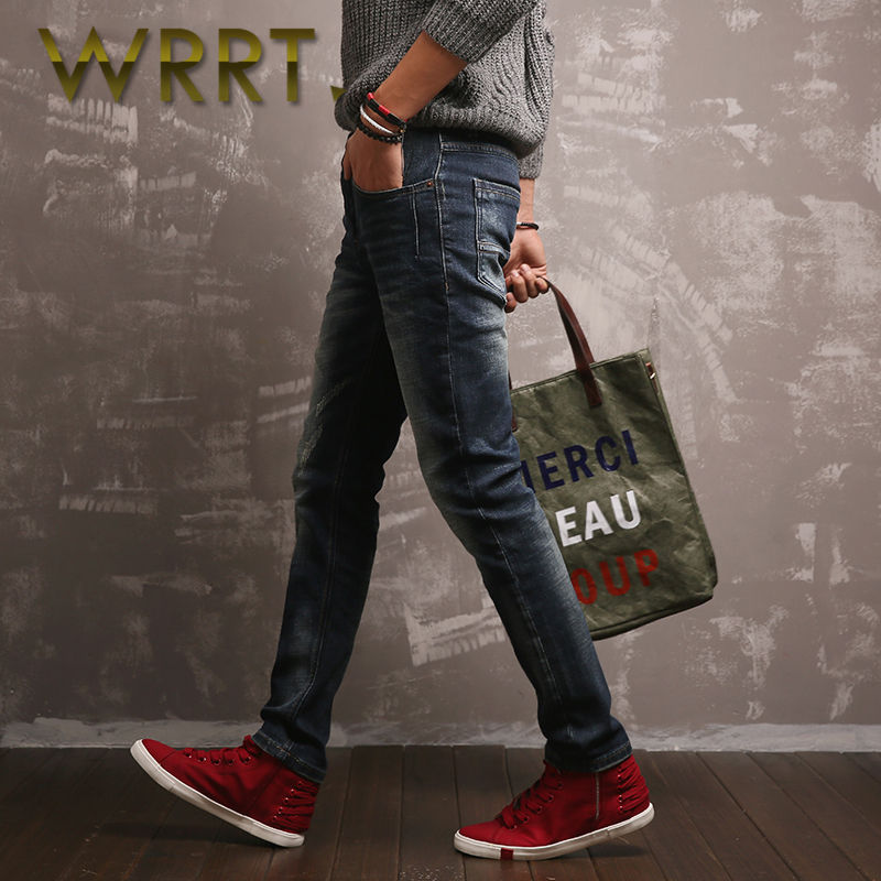 2016 young feet wrrt breathable cotton stretch jeans spring new men washed trousers 4048