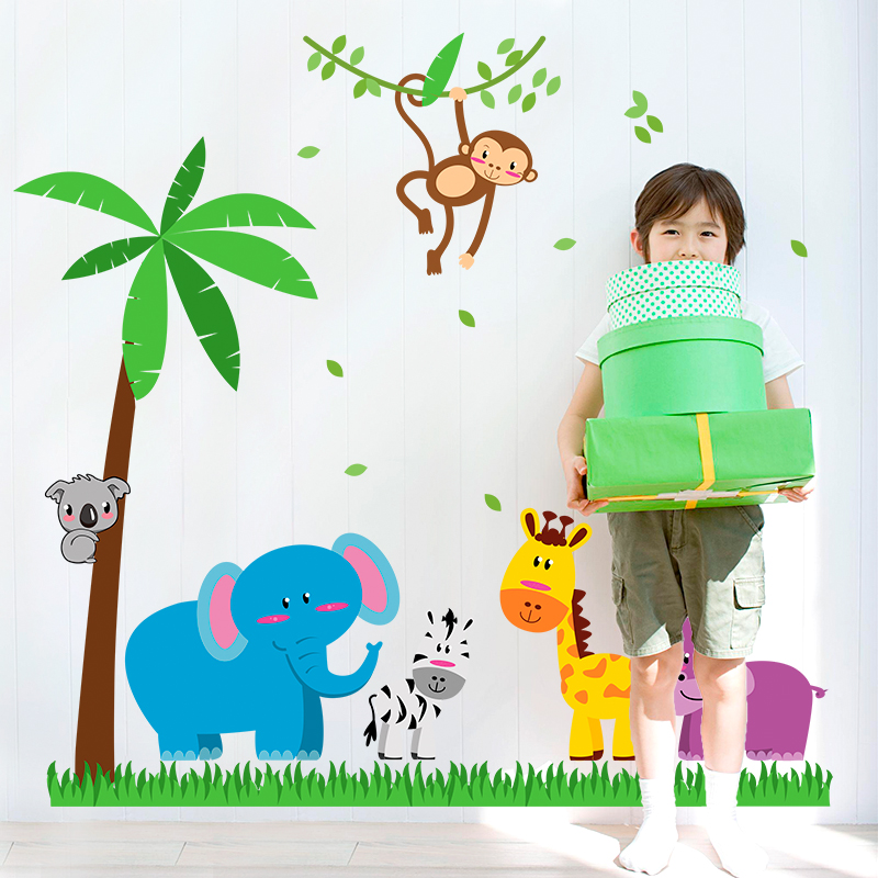 Wall stickers waterproof decorative stickers sticker kindergarten children's room bedroom bedside background cartoon animal world park