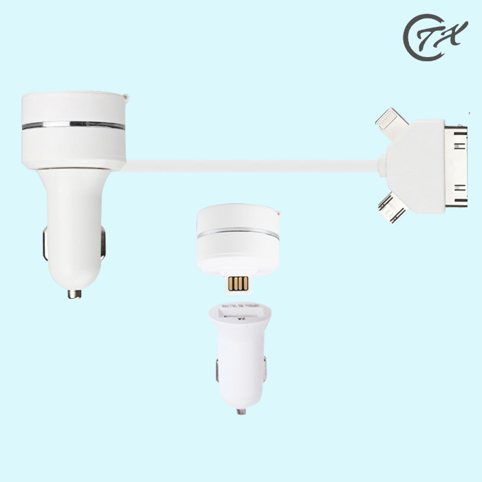 2a car charger apple android phones dragged three usb charging data cable car charger electric car charger cigarette lighter charger
