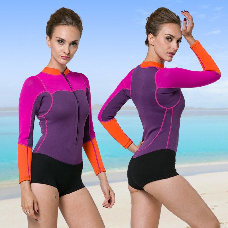 c25338c0d72e8 Get Quotations · 2MM wetsuit female front zipper long sleeve piece female  thick warm winter swimming snorkeling jellyfish clothing