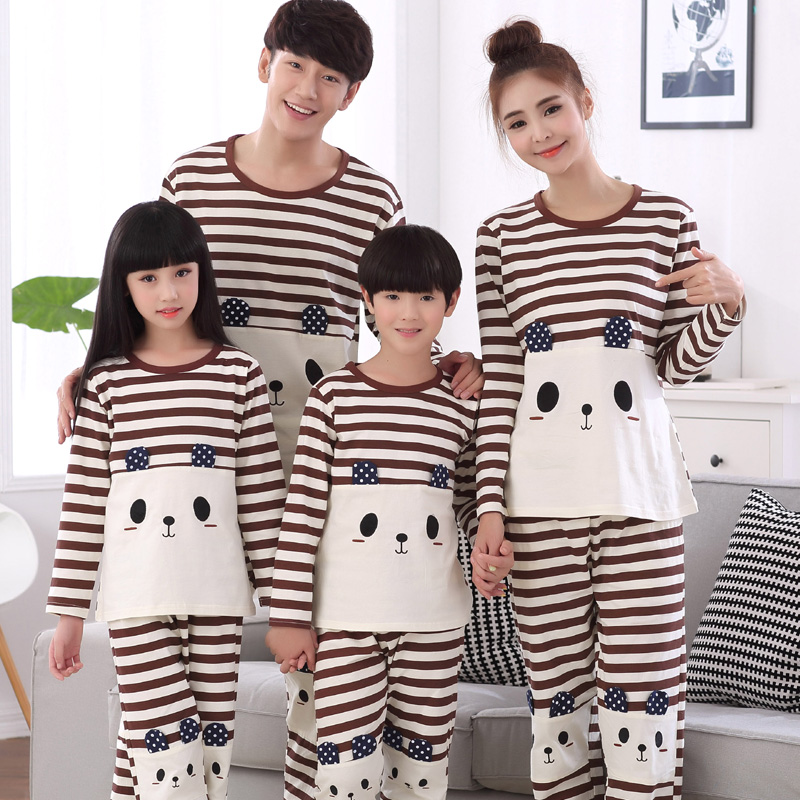 3 set the price in spring and autumn long sleeve cotton pajamas parenting a family of three family pack paternity suit tracksuit cartoon