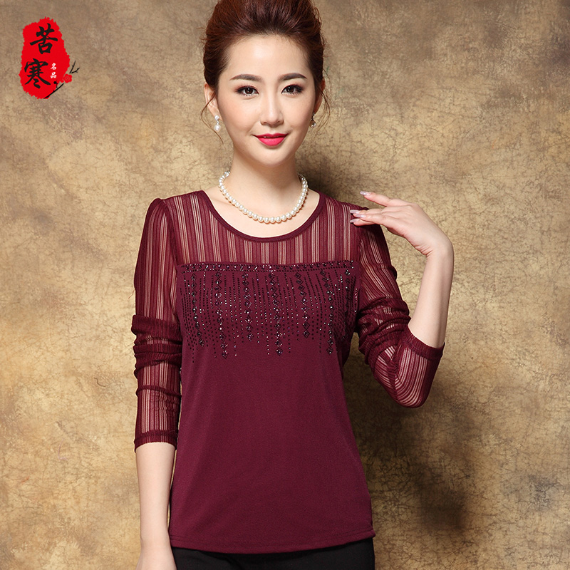 30 years old mother autumn autumn long sleeve lace bottoming shirt female t-shirt female middle-aged middle-aged women autumn 2016 new wave