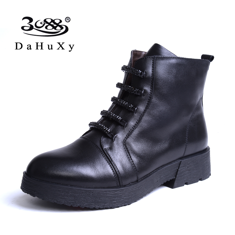 3088 spring female boots boots martin influx of women lace round flat side zipper boots leather boots duantong female