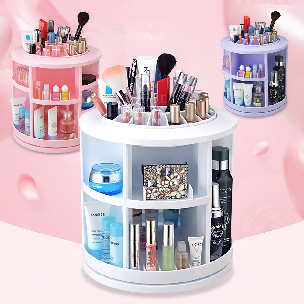 360 degree rotation desktop skincare cosmetics storage box large capacity plastic storage racks finishing dressing