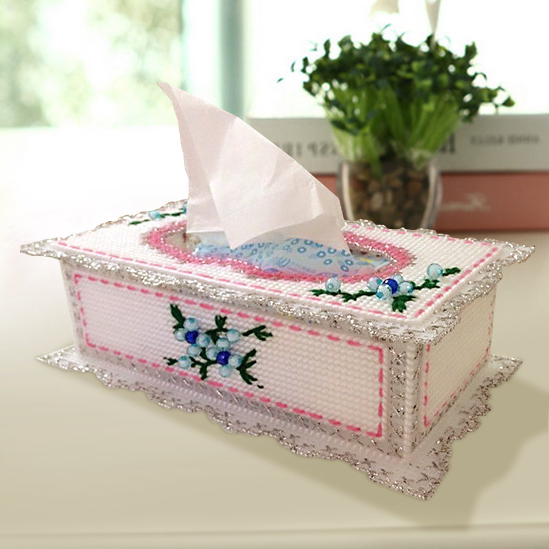 3d three-dimensional embroidery stitch kit bold wool embroidered tissue box pumping tray european flower diy new living room