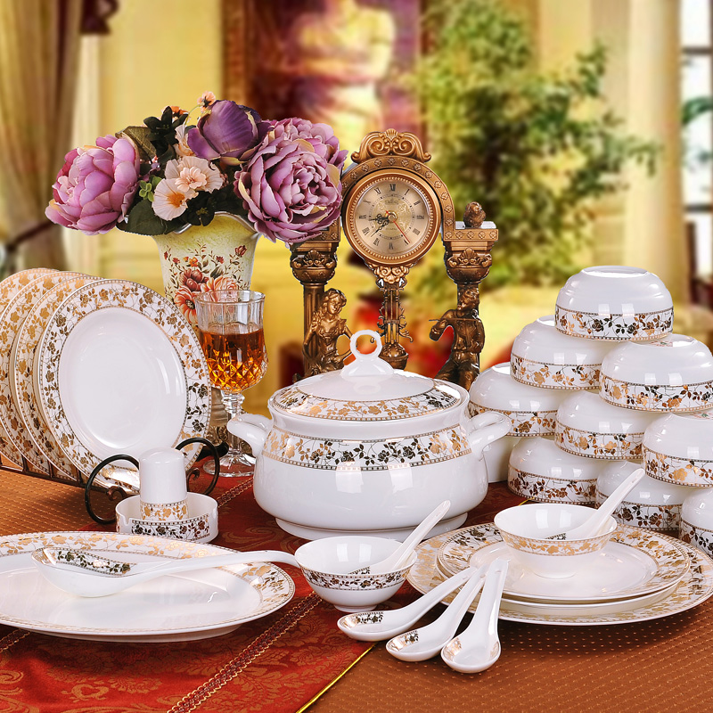 56 bone china tableware suits jingdezhen ceramic tableware dinnerware dishes suit creative bone china tableware phnom penh flower