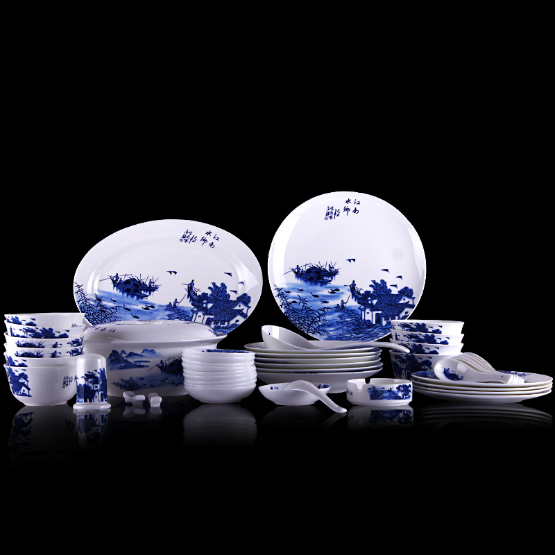 56 skull porcelain tableware suit jingdezhen creative chinese blue and white porcelain dish microwave dishes gy