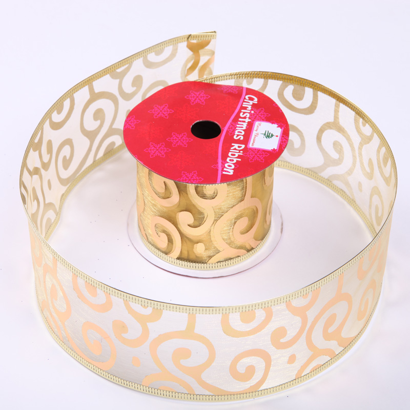 5cm golden christmas party wide ribbon ribbon ribbon gift wrapping ribbon ribbon roll loaded export quality