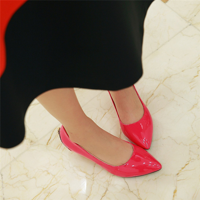 5cm korean version of the temperament shallow mouth comfortable work shoes with nude shoes spring 2016 models red wedding shoes patent leather shoes singles