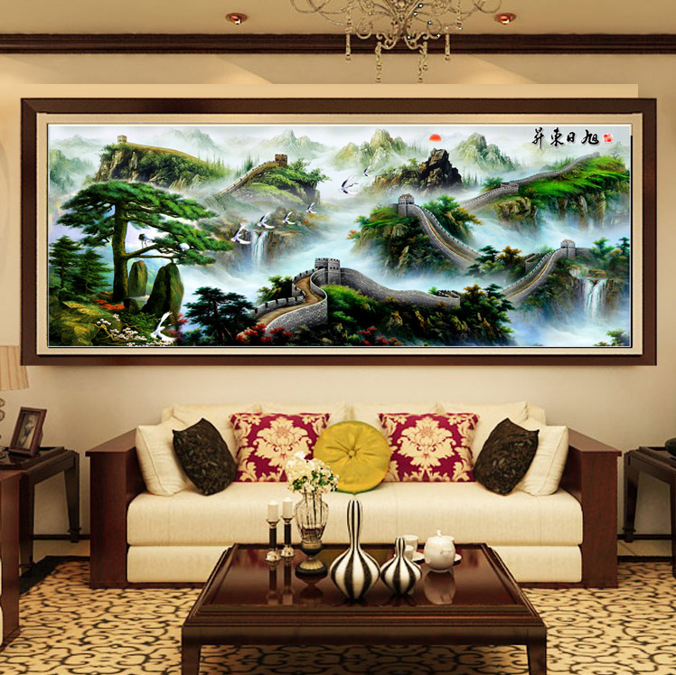 5d cube round diamond draw great wall landscape painting landscapes full of diamond stitch sticky stickers show the new living room bedroom