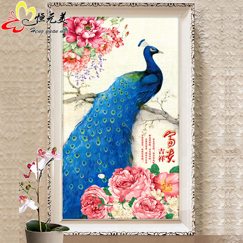 5d diamond diamond embroidery painting the living room full of diamond peacock bird spirit of the rubik's cube round diamond drill vertical version entrance hallway stitch point diamond paste