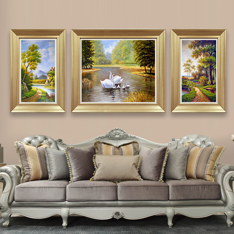 5d diamond diamond embroidery stitch new living room triptych european swan stitch diamond paste diamond embroidery landscape painting a happy home