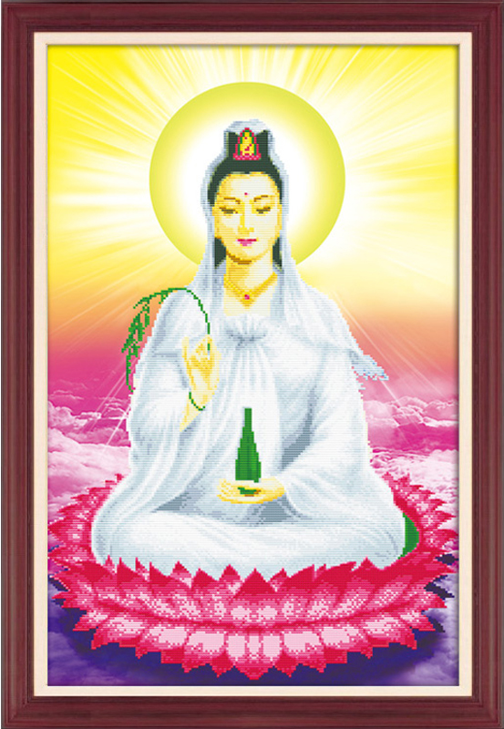 5d diamond stitch painting guanyin buddha sitting on lotus goddess of mercy has ever been guanyin buddha painted diamond paste diamond embroidery