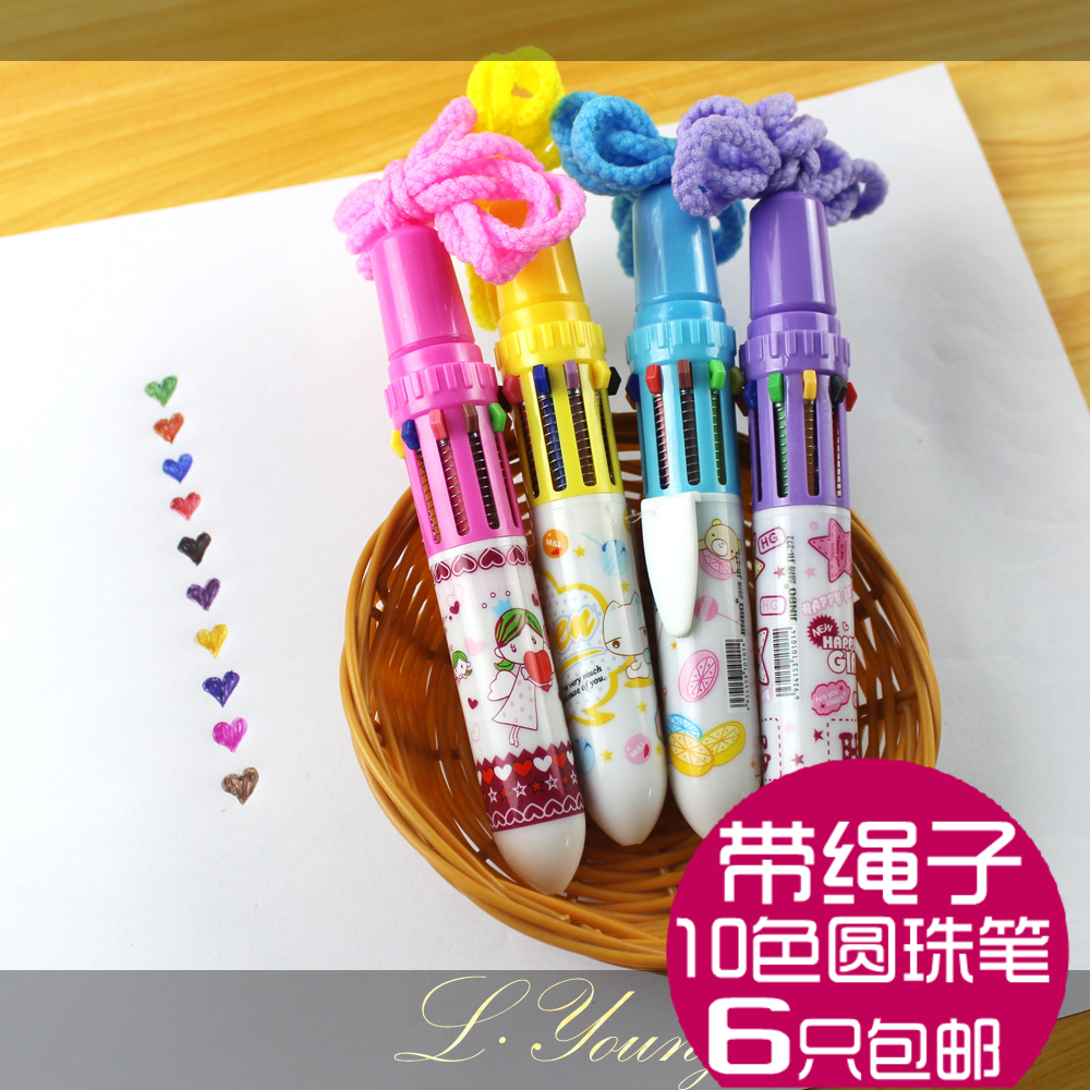 6 free shipping ten color automatic color ballpoint pen 10 color gel pen cartoon cute color ribbon rope