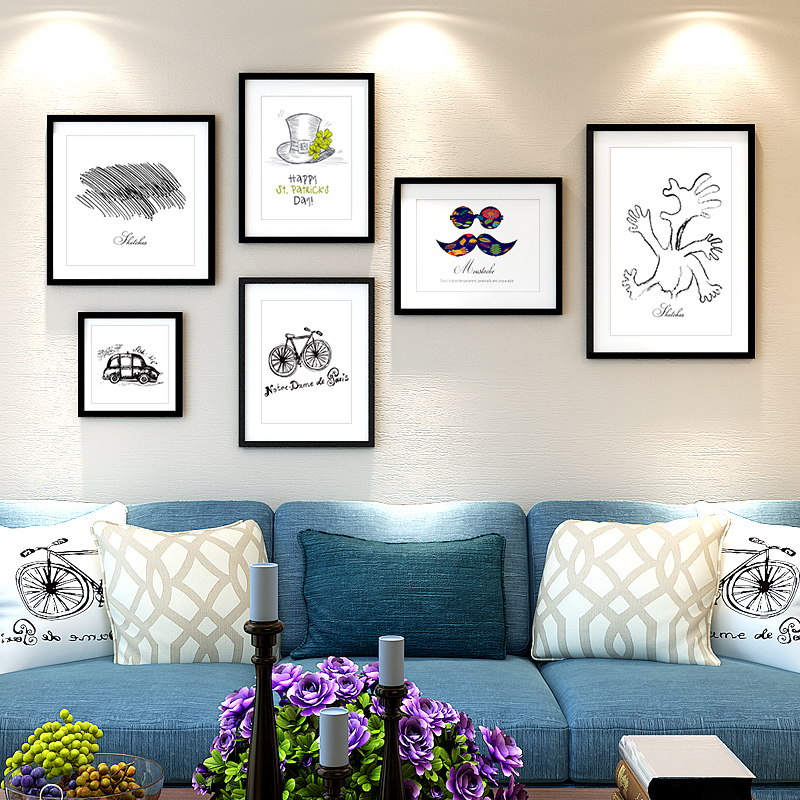6 wood frame wall photo wall creative combination photo frame wall photo wall minimalist living room home decorations